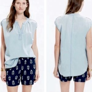 MADEWELL Chambray Light Wash Popover Top Sz S